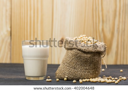 soy bean and home made soy milk - stock photo