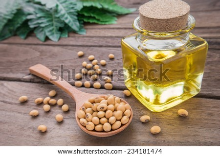 Soy bean and soy oil on wooden table - stock photo