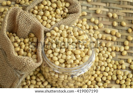 Soy bean in container - stock photo