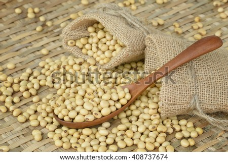 Soy bean on wooden spoon