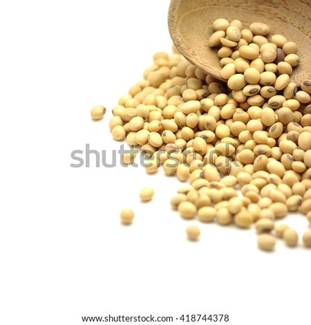 soy beans and wooden spoon isolated on white - stock photo