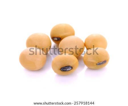 soy beans on white background. - stock photo