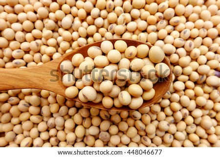 Soy beans with a wooden spoon