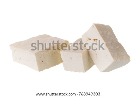 soy cheese tofu diced isolated on white background.