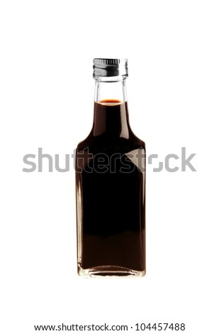 Soy sauce bottle isolated on white - stock photo