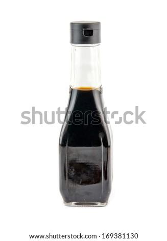 soy sauce bottle isolated on white background  - stock photo