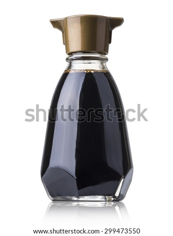 soy sauce bottle isolated on white with clipping path - stock photo