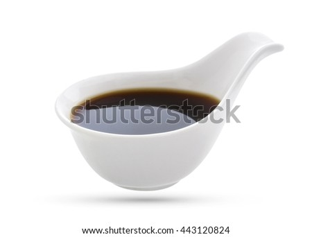 Soy sauce in bowl isolated on white background. - stock photo