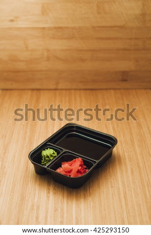 Soy sauce set for sushi - stock photo