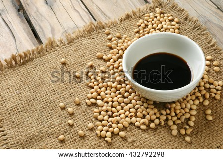 Soy sause ,Soya and soybean - stock photo
