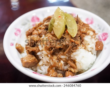 soy-stewed pork with rice - stock photo