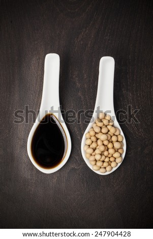 soya beans and soy sos - stock photo
