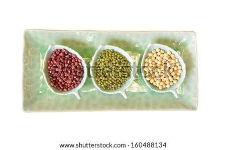 Soya beans, red beans, green beans - stock photo