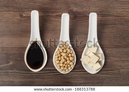 soya sauce, soya grains and tofu - stock photo