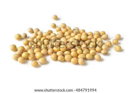 Soybean beans on white background - isolated