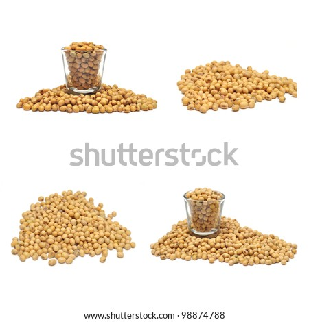 soybean collection on white background - stock photo