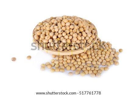 soybean in bamboo basket on white background