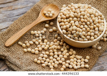 Soybean in wooden bowl and spoon putting on linen sack, rustic grain farm concept