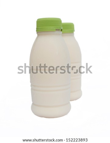 Soybean milk in Bottles  on white background