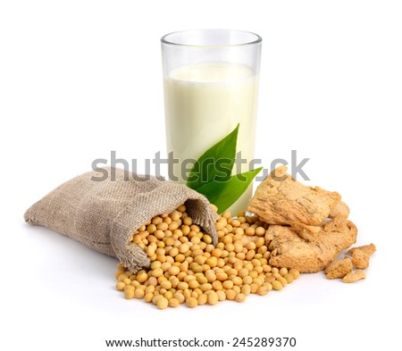 Soybean milk, meat, seed. Isolated on white backgraund. - stock photo