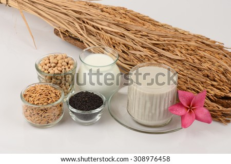 Soybean milk, soy, Black Sesame Seeds and Germinated brown rice (GABA), a healthy drink helps clear skin, reduce weight and weave antioxidants.  - stock photo