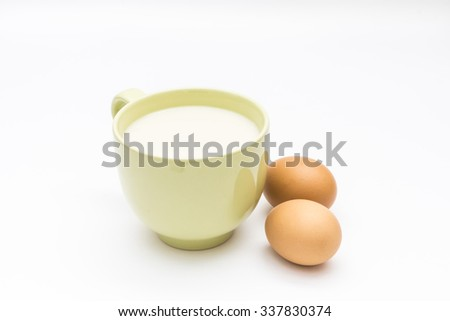 soybean milk with eggs on white background