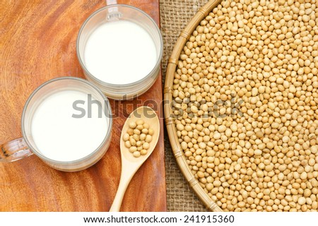 Soybean name Glycine max, Fabaceae family, rich protein, acid amino, vitamin, a nutrition product, to process soy-milk, this soy milk supply collagen, estrogen for woman, a kind delicious beverage  - stock photo