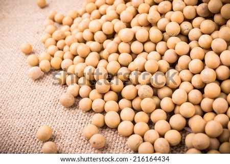 soybean on flax background studio shot - stock photo
