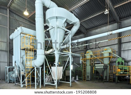 soybean processing plant - stock photo