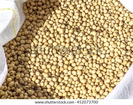 Soybeans in bag - stock photo