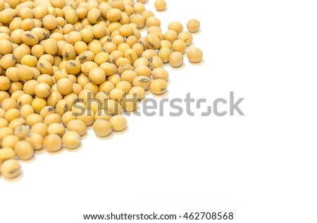 Soybeans isolated on a white background,closeup