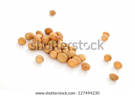 Soybeans isolated on white background. Vegetarian and vegan eating concept. - stock photo