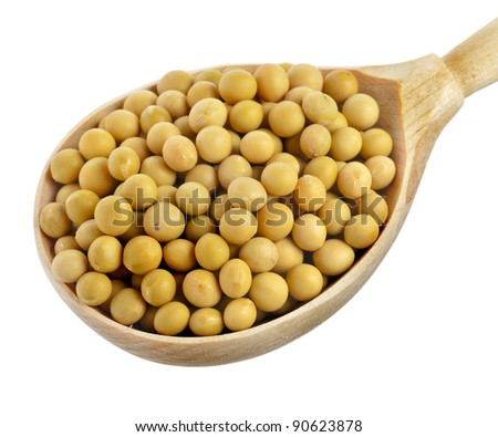 soybeans over wooden spoon isolated on white - stock photo