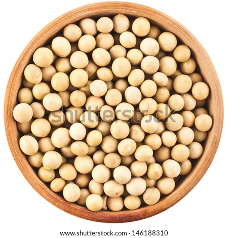 soybeans over wooden spoon isolated on white background - stock photo