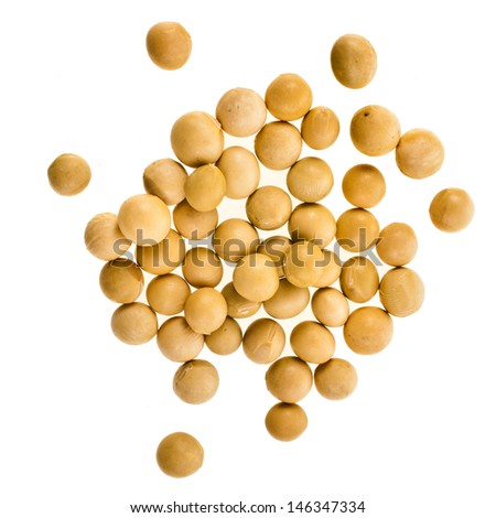 soybeans surface close up isolated on white  background  - stock photo