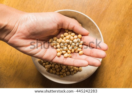 soybeans with wood background.