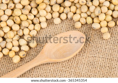 Soybeans with wooden spoon, Healthy Food. - stock photo