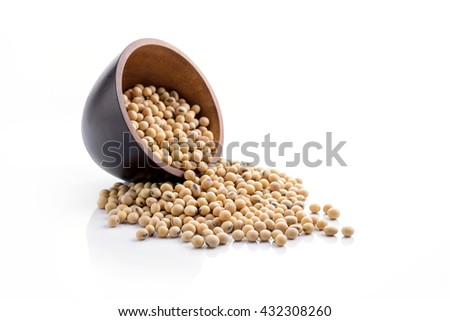 soybeans with wooden spoon on white background.