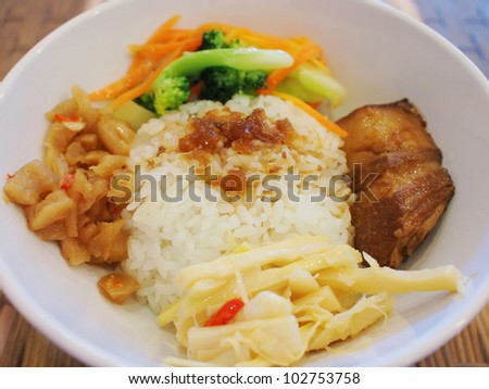 soysause-marinated ground pork over rice