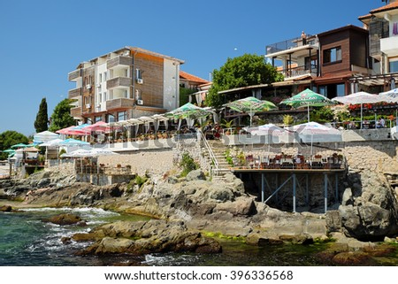 SOZOPOL, BULGARIA - JULY 19: Seaside hotels and restaurants on July 19, 2015 in old town of Sozopol, Bulgaria. Sozopol is one of popular seaside resorts in Bulgaria. - stock photo