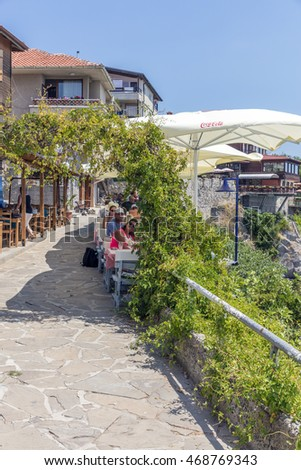 SOZOPOL, BULGARIA, JULY 22, 2016: Street in the Old Town. Sozopol was founded in the 7th century BC by Greek colonists. Today it is one of the major seaside resorts in the country