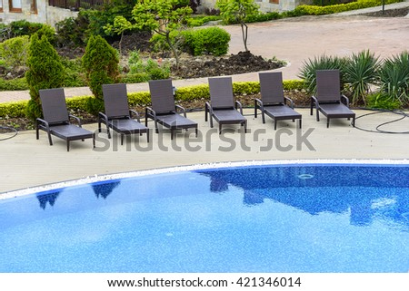 "Sozopol, BULGARIA - MAY 6: Outdoor swimming pool in resort ""Saint Thomas"" on May 6, 2016 in Sozopol, Bulgaria."