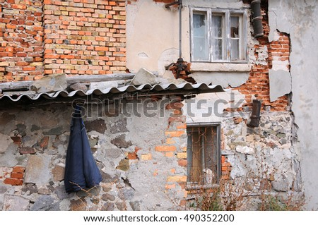 SOZOPOL, BULGARIA - SEPTEMBER 7, 2016: Part of dilapidated building in the town