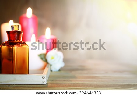 Spa accessories candle and bottle