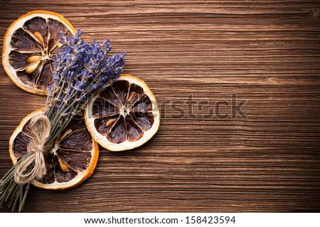 Spa accessories, lavender. - stock photo