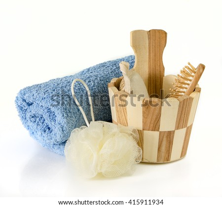 Spa accessories on white background - stock photo