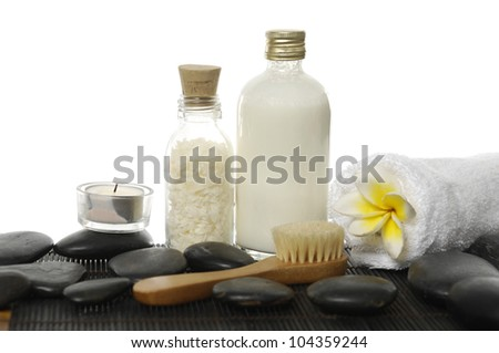 spa accessories on zen stones background