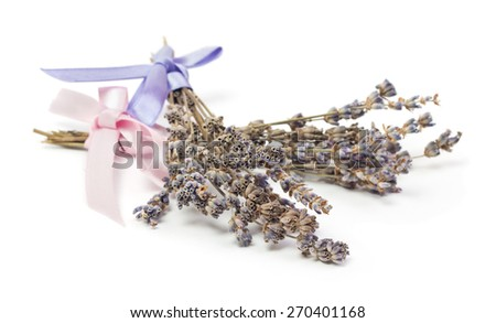 Spa Accessories, two bunches of lavender with ribbon isolated on white - stock photo