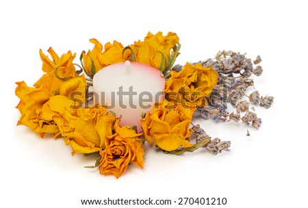 Spa Accessories, yellow dried roses with lavender and candle isolated on white - stock photo