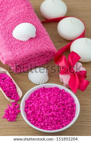 Spa and bath accessories with salt,soap and towel